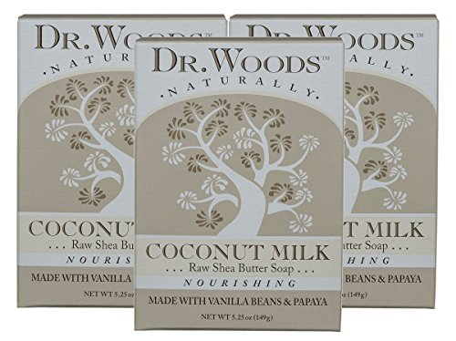 Dr. Woods Dr. woods coconut milk bar soap with vanilla beans, papaya, organic shea butter, 5.25 oz (pack of 3)