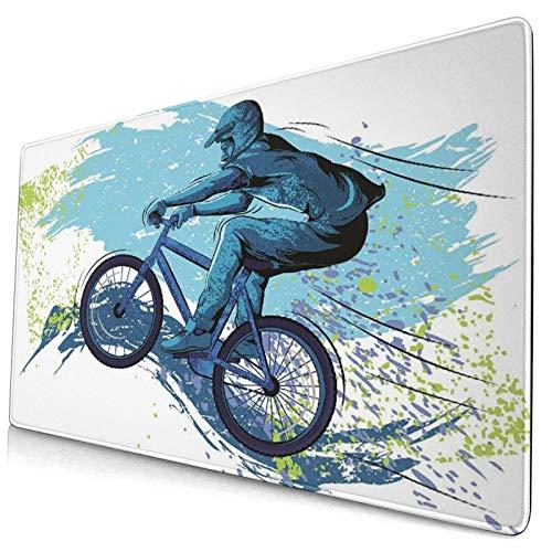 Großes dekoratives Gaming-Mauspad,Fahrrad BMX von Sportsman Cycling Extreme Bik,lange Computermausmatte mit rutschfester Gummibasis für Büro/Spiele/Zuhause