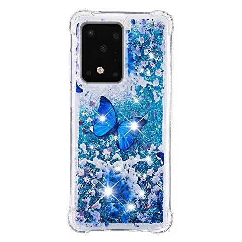 Veapero Kompatibel für Hülle Samsung Galaxy Note 10 Lite/Samsung A81 Hülle,Quicksand Glitzer Mode kreatives Design Fließende Flüssigkeit schwimmt Funkeln Hülle transparent,Blauer Schmetterling