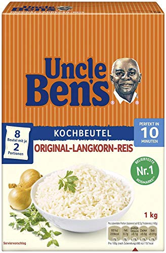 Uncle Ben's Original-Langkorn-Reis, 10-Minuten Kochbeutel, 6 Packungen (6 x 1kg)