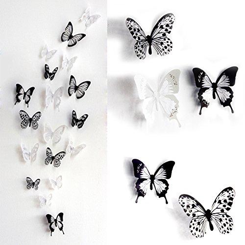 skyblue-uk 18 stickers Muraux de Papillons 3D Sticker Mural Autocollants bricolage papillon amovible Reutilisable Pour chambre Salon (noir)