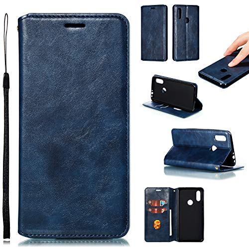 Hülle Handyhülle for Xiaomi Redmi 7, Premium Leder Flip Schutzhülle [Standfunktion] [Kartenfächer] [Magnetverschluss] lederhülle klapphülle für Xiaomi Redmi 7 -TTYKB020394 Blau