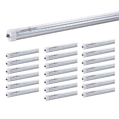 LUMINOSUM T8 T10 T12 LED Tube Lights 8 Foot Single Pin FA8 Base 20-pack