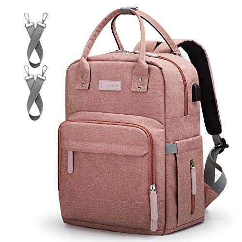 Diaper Bag Backpack Upsimples Multi-Function Maternity Nappy Bags for Mom, Baby Bag with Laptop Pocket,USB Charging Port,Stroller Straps -Pink