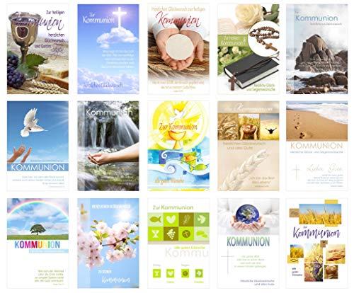 Edition Seidel Set 15 Kommunionskarten mit Umschlag - Glückwunschkarte zur Kommunion - Kommunionskarte - Set Kartenset (Klappkarten mit Briefumschlag)
