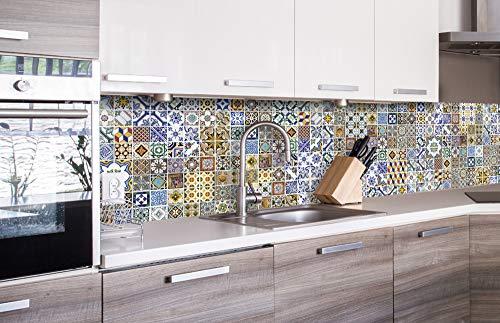 DIMEX LINE Küchenrückwand Folie selbstklebend PORTUGIESISCHE Fliesen | Klebefolie - Dekofolie - Spritzschutz für Küche | Premium QUALITÄT - Made in EU | 260 cm x 60 cm
