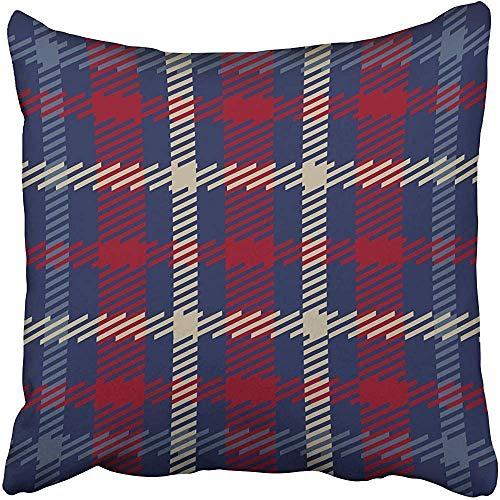 Mengghy Fundas de almohada de 45 x 45 cm, diseño de tartán escocés en azul marino, rojo, beige, azul, británico, irlandés, diseño celta, funda de cojín decorativa