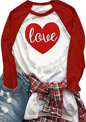 Love Heart Print T-Shirt für Damen, Valentinstag, niedlich, lustige Grafik, Spleißen, Baseballbluse - Rot - Klein