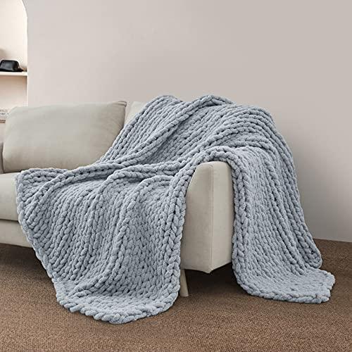 Sunyrisy Chunky Knit Throw Blanket, Luxury Soft Cozy Chenille Throw Blanket, Large Throw Bed Blanket...