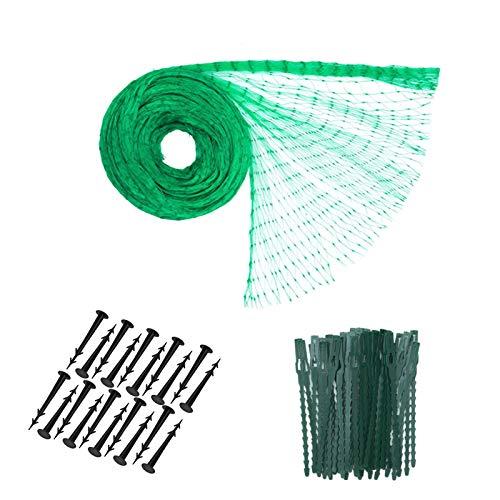 gotyou 4m x 10m Malla Antipájaros Malla de Cubierta,Red de Jardín Plastico para Estanque de Protección de Plantas, Verduras, Jardín(50 Piezas Cinturon de Plástico y 20 Clavos de fijación de Plástico)