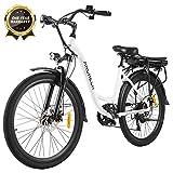 ANCHEER 26' Vélo électrique de Ville avec Batterie Amovible 12,5 Ah, Freins à Double Disque 30 Miles (Vélo de Ville- Blanc)