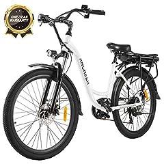ANCHEER 26» Vélo électrique, ville E-Bike Cruiser avec batterie amovible 12,5Ah dans le cadre arrière 30 milles autonomie freins à disques doubles (vélo de ville blanc)