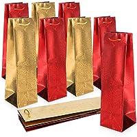 com-four® 10 sacchetti regalo con motivi natalizi - sacchetto regalo per bottiglie di vino e champagne - sacchetto per bottiglie per natale [la selezione varia] (10 pezzi - color oro rosso)