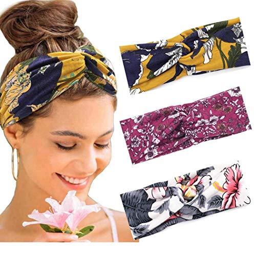 Favelo Criss - Diademas elásticas para la cabeza de Boho para yoga, deportes, para mujeres y niñas (3 unidades)