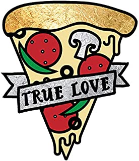 MY TRUE LOVE IS PIZZA set of 25 premium waterproof metallic colorful temporary foil Flash Tattoos - Party Favors, Party Supplies, Valentine's Day, pizza, food, kids