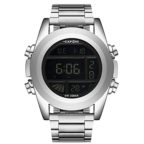 WENY Outdoor-Casual Uhr Herren Digital Sport Armbanduhr LED-Bildschirm große Gesicht Elektronik Militäruhren wasserdicht Alarm Stoppuhr zurück Licht (Farbe : Silber)