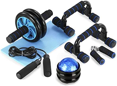 TOMSHOO 6 in 1 AB Wheel Roller Kit AB Roller Pro with Push UP Bar Hand Griper Massage Ball Jump product image