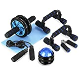 TOMSHOO 6-in-1 AB Wheel Roller Kit AB Roller Pro with Push-UP Bar, Hand Griper, Massage Ball, Jump Rope and Knee Pad - Portable Equipment for Home Exercise, Workout (Upgraded Version)
