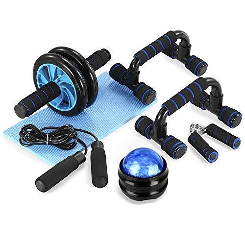 TOMSHOO 6 in 1 - Kit de Rueda Abdominal, Push Up Bars, Cuerda para Saltar, Fortalecedor de Mano, Rodilla Mat para Entrenamiento en Casa Ejercicios Fitness (Negro y Azul)