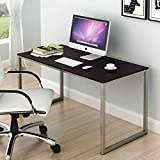 SHW Home Office 48-Inch Computer Desk, Silver/Espresso