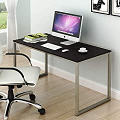 """Morden design: Great for home office, studio, bedroom and also kitchen as a dinning table Material: steel frame, powder coated finish, Environmental particle board. Easy to Assembly, step by step instruction and hardwares included. Dimension: 48"""" W x..."""