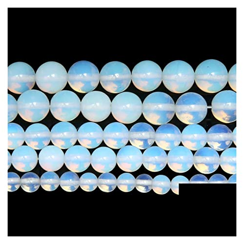 Linyuex Natural Stone Smooth White Opalite Quartz Loose Beads 15' Strand 4,6,8,10,12,14mm Pick Size For Jewelry Making (Item Diameter : 8mm 45 to 48pcs)