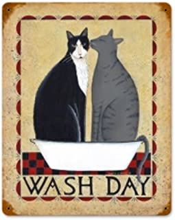 Wash Day Cats Home and Garden Vintage Metal Sign - Victory Vintage Signs