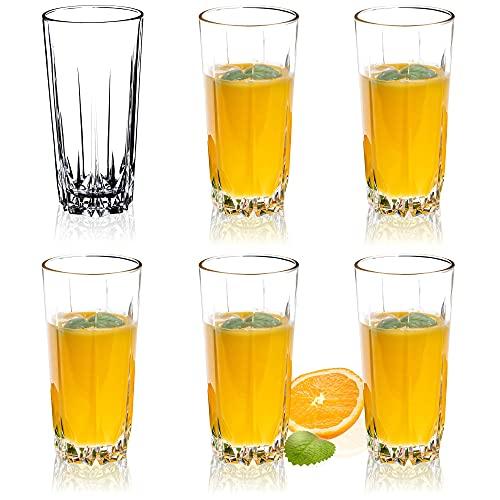 KADAX Juego de 6 Vasos de Cristal, Vasos de Agua, Copas de Zumo, Vasos para servir Agua, Zumo, Cócteles, Casa, vasos para bebidas, transparente (330ml, alto)