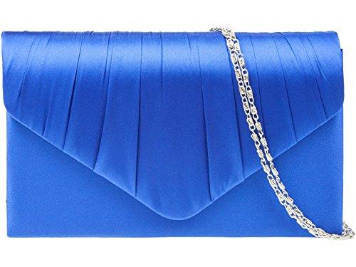 fi9® - Lussuosa pochette per signora, in raso, per feste, serate danzanti, matrimoni, Blu