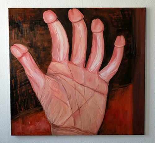 Penis hand, oil on canvas 90 x 95 cm