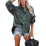 PDYLZWZY Blusa de manga larga para mujer, patchwork, leopardo, botones, camisa de manga larga, estilo casual, holgada, verde, L