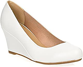 Link Women's Patent Round Toe Wedge Pumps