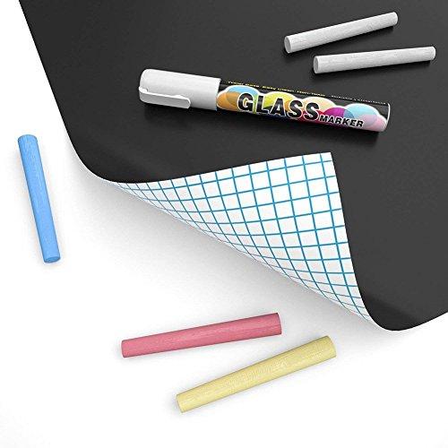 Tafelfolie Schwarz,Selbstklebende Tafel-Aufkleber – Blackboard Folie – Leicht anbringbare 1 Set (Tafel Aufkleber + 5 Stück Kreide),45 * 100CM