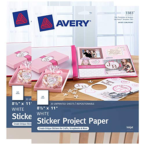 Avery Repositionable Sticker Project Paper, Matte White, 8.5