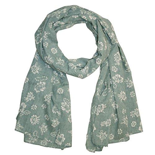 MANUMAR Schal für Damen   feines Hals-Tuch in olivgrün mit Blumen Motiv als perfektes Herbst Winter Accessoire   Damen-Schal   Stola   Mode-Schal   Ideales Geschenk für Frauen