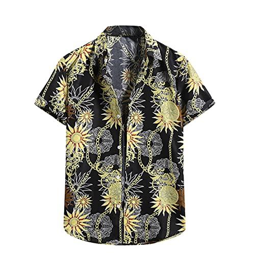 Camisa hawaiana para hombre, de verano, informal, con flores, manga corta, corte ajustado. A_negro. M