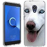 Alcatel 1X Evolve Case [Husky Blep](Clear) PaletteShield Flexible Slim TPU Skin Phone Cover (fit Alcatel 1X Evolve/Ideal Xtra/TCL LX)
