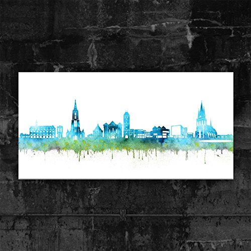 Kunstbruder ULM Skyline - Blau (div. Größen) - Kunst Druck auf Leinwand 30x60cm