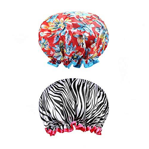 Tweal Bonnet de Douche,2 Pcs Bonnets de Douche Imperméables et Réutilisables pour Les Femmes Double Couche Spa