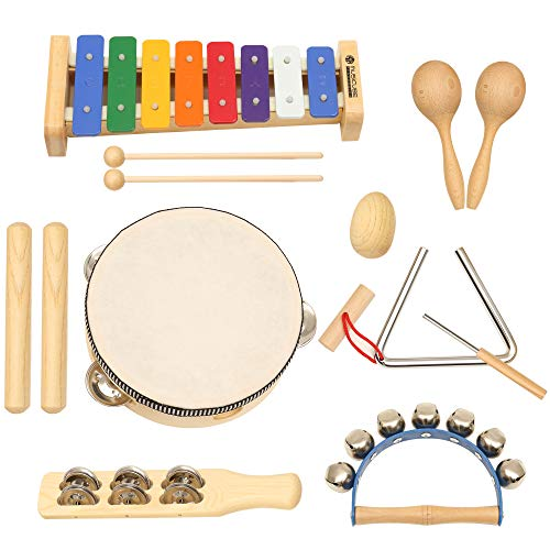Kids Play Musical Toy Set, Percussion Toy Set with 13 Pcs Music Instruments, Best Gifts for Kids
