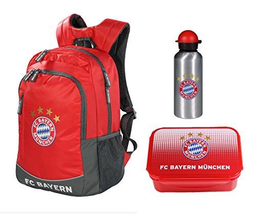 Familando FC Bayern München 3tlg. Rucksack Set mit Brotdose und Alu-Trinkflasche z.B. für die Freizeit 21535