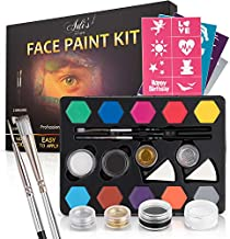 Face Paint Kit for Kids - 12 Water Based, Quick Dry, Non-Toxic Sensitive Skin Paints, 2 Glitters - 2 Sponge Applicators, 2 Professional Paint Brushes, 40 Stencils, Fun and Easy to Do