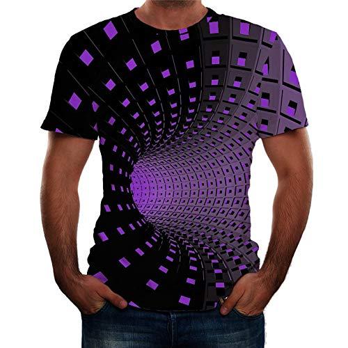 t Shirt Polo Shirts Poloshirt Shirt Top Bluse Herren Mode 3D-Druck Rundhalsausschnitt Kurzarm (3XL,Lila)