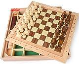 AK Ajedrez magnético Madera 3 en 1 Ajedrez Backgammon Damas Juegos de viaje en interiores...