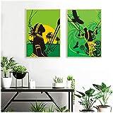Afrique Soleil Filles Imprime Femme Noire Désert Africain Image Chaude Affiche Mur Art Toile Peinture Ethnique Beauté Tribu Décor-50x70 cm2 Pas de Cadre