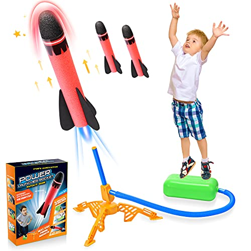 DreamToy Boy Toys for 4 5 6 7 8 Year Old Boys Girls, Stomp Toy Rockets Toys Kids Toys Boys Toys Age 3-9 Girl Gifts for 3-12 Year Old Girl Garden Toys Rocket for Kid Child Birthday Gift