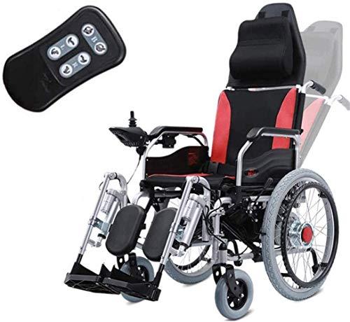 WXDP Selbstfahrender Rollstuhl,Deluxe Elektromotorisch klappbarer, Faltbarer Elektro Fußpedal, Einstellung der Rückenlehnenfernbedienung, leistungsstarker