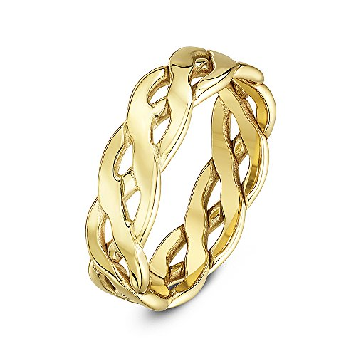 Theia Unisex 9 ct Yellow Gold, 6 mm Celtic Wedding Ring, Size T