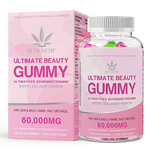 Hair Vitamin Gummies - 15,000mcg Biotin Gummies, Hair Skin and Nails Multivitamin Gummy for Women, Omega 3 6 & 9 Natural Fruit Favors Gummies for 1 Month Supply