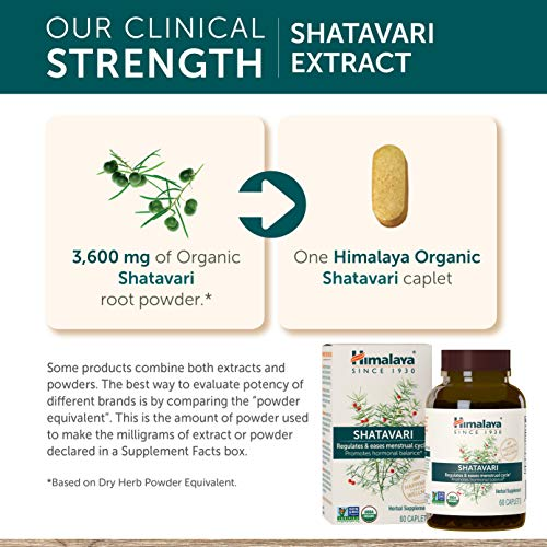 Himalaya Organic Shatavari for PMS, Menstrual Cramp Relief, Menopause Support, and Women's Health, 1,300 mg, 60 Caplets, 1 Month Supply